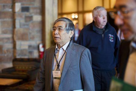 Haruhiko Kuroda, Governor of the Bank of Japan, attends the Federal Reserve Bank of Kansas City's annual Jackson Hole Economic Policy Symposium in Jackson Hole, Wyoming August 28, 2015. REUTERS/Jonathan Crosby