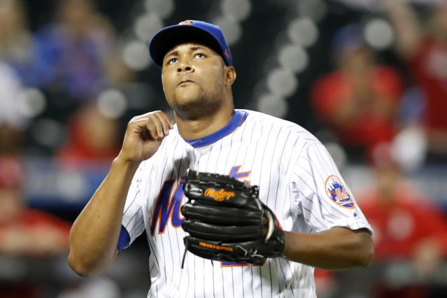 New York Mets relief pitcher Jeurys Familia leaving the mound after allowing three hits and four runs in the eighth inning of a baseball game against the St. Louis Cardinals, Friday, June 14, 2019, in New York. (AP Photo/Kathy Willens)