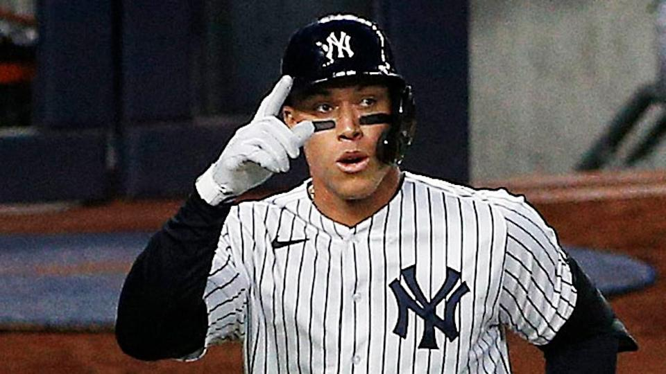 Aaron Judge points after hitting home run vs. Orioles