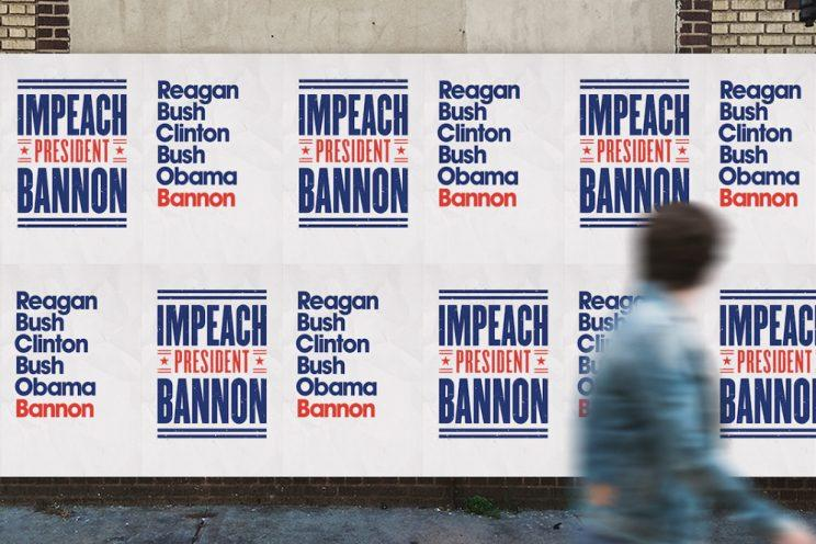 """A sign protesting """"President Bannon"""" is seen in San Francisco. (Photo courtesy @BannonThe45th)"""