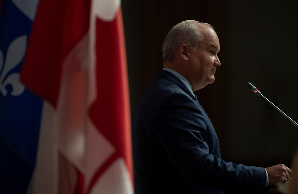 Conservative Leader Erin O'Toole is seen during his opening speech to members of the National Caucus in Ottawa on Sept. 9, 2020.  (Photo: Adrian Wyld/The Canadian Press)