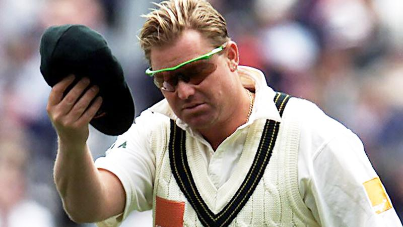 Shane Warne, pictured here with his baggy green cap in 2001.