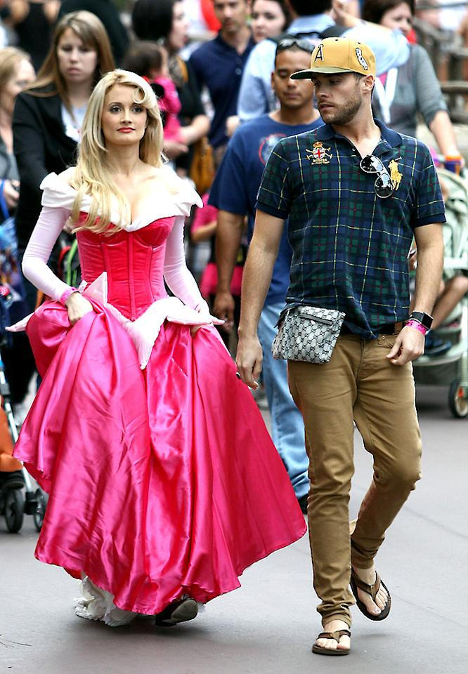 """She may be more than four months pregnant, but you'd never know it from seeing Holly Madison dressed as """"Sleeping Beauty's"""" Princess Aurora while taping Mickey's Halloween Party at Disneyland on Tuesday. (10/9/2012)"""