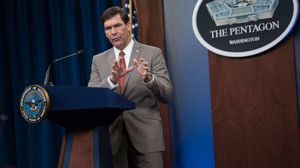 PHOTO: Defense Secretary Dr. Mark T. Esper briefs the media about the department's COVID-19 response, the Pentagon, Washington, March 17, 2020. (Office of the Secretary of Defense)