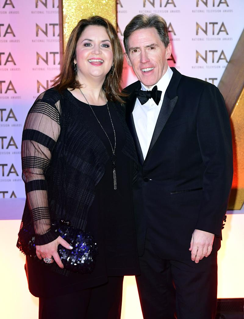 Ruth Jones (left) and Rob Brydon during the National Television Awards at London's O2 Arena.