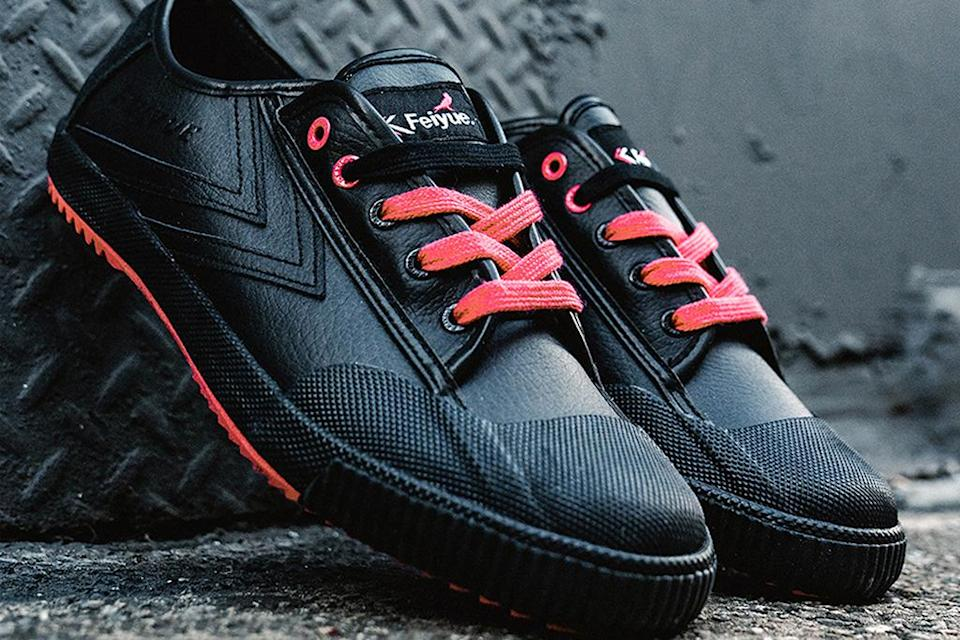 Staple x Feiyue sneaker in black and Pigeon Pink colorway. - Credit: Courtesy of Feiyue