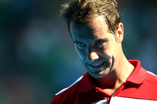MELBOURNE, AUSTRALIA - JANUARY 21: Richard Gasquet of France looks on in his fourth round match against Jo-Wilfried Tsonga of France during day eight of the 2013 Australian Open at Melbourne Park on January 21, 2013 in Melbourne, Australia. (Photo by Mark Kolbe/Getty Images)