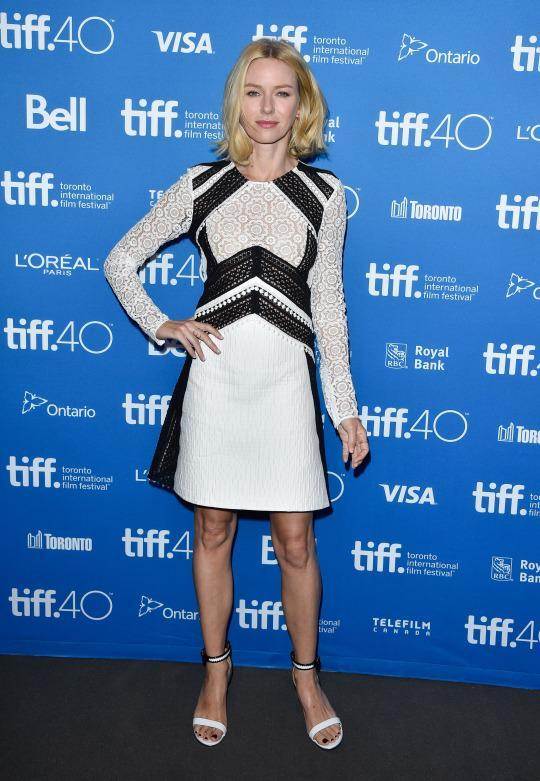 "<p>Taking it down a notch from her Balmain gown, Naomi Watts attended a press conference for ""Demolition"" in a black and white Burberry Prorsum dress from the British brand's Resort 2016 collection.</p>"