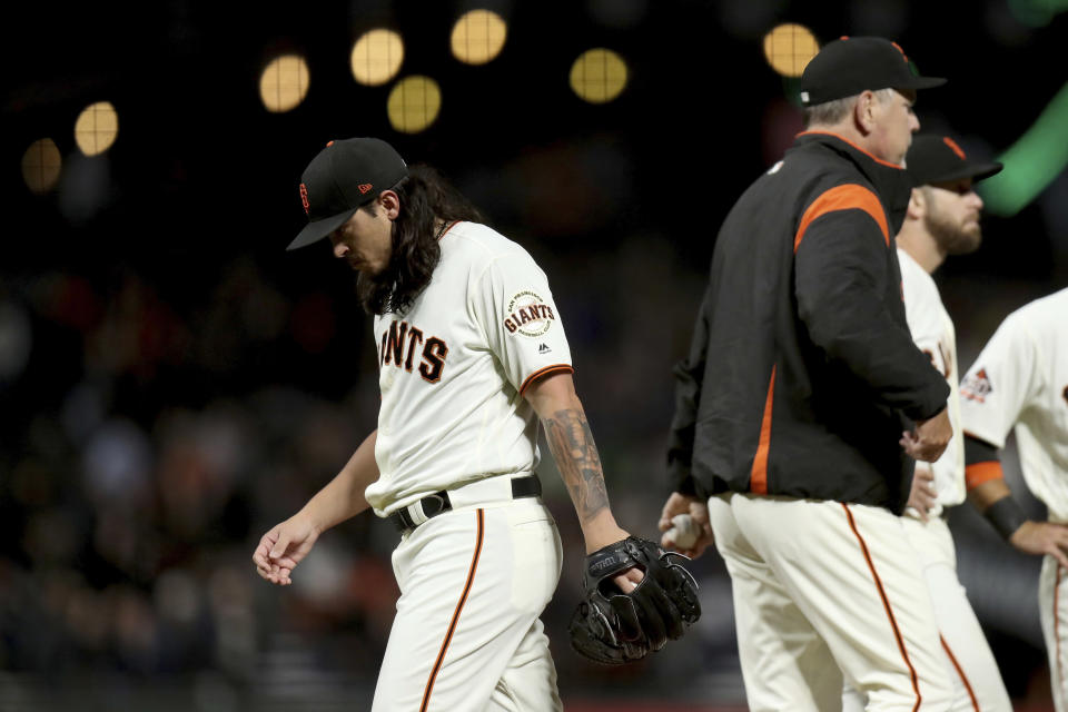 San Francisco Giants starting pitcher Dereck Rodriguez (57) leaves in the seventh inning of a baseball game against the Atlanta Braves in San Francisco, Monday, Sept. 10, 2018. (AP Photo/Scot Tucker)