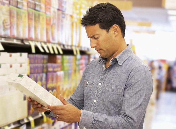 Man holding cereal box