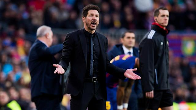 A pragmatic Diego Simeone acknowledged the tough task of denying Lionel Messi and Barcelona another LaLiga title.