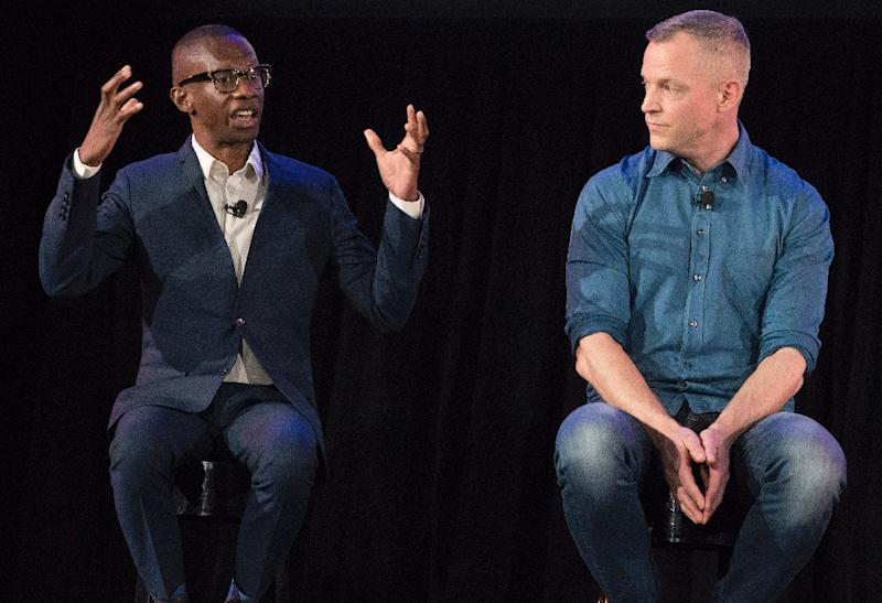 Gustav Soderstrom, Spotify Chief Research and Development Officer (R), shown with Spotify's Troy Carter, Spotify Gustav Soderstrom, Spotify Chief Research and Development Officer (R), shown with Spotify's Troy Carter, Head of Creator Services, said expanding the company's free service is part of the platform's growth strategy (AFP Photo/Don EMMERT)