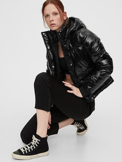 Upcycled Cropped Midweight Puffer Jacket