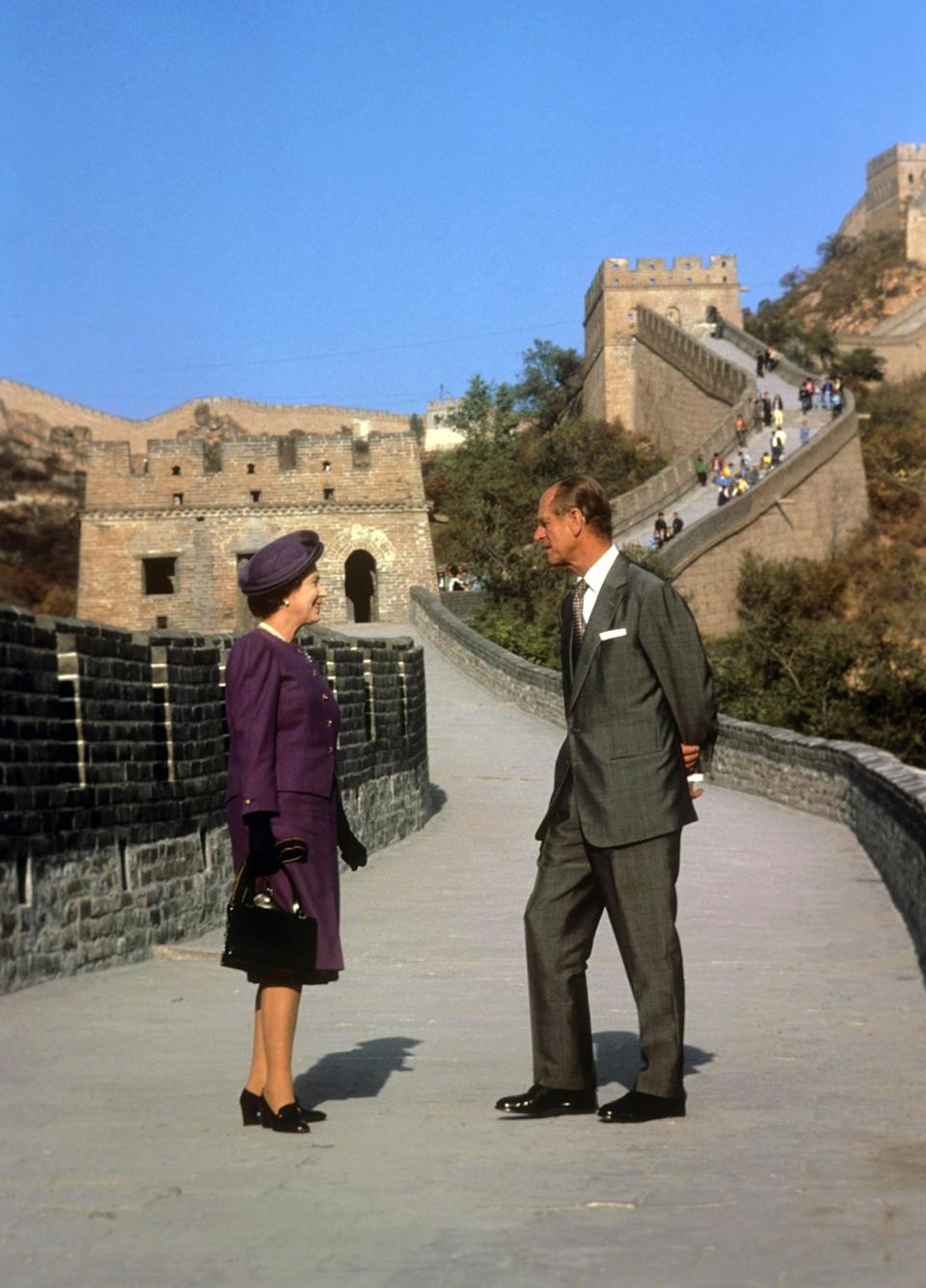 <p>Prince Philip and The Queen visit the Great Wall of China on a state visit to the country. (PA Archive) </p>