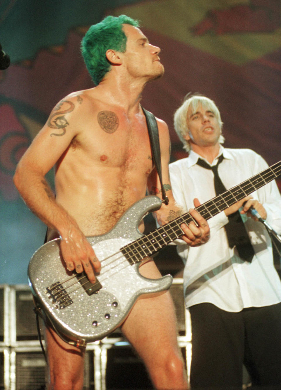 Red Hot Chili Peppers' Flea and Anthony Kiedis at Woodstock '99.  (Photo: Joe Traver/Getty Images)