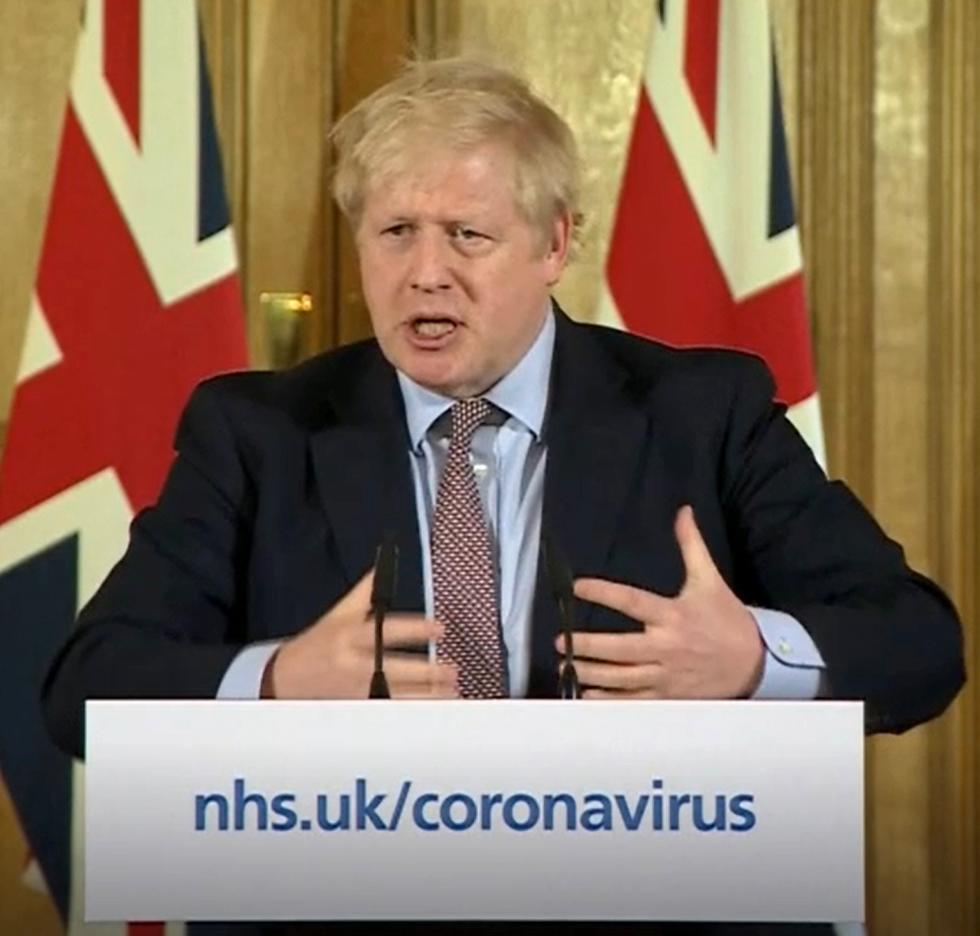 A screen-grab of Prime Minister Boris Johnson (centre) speaking at a media briefing in Downing Street, London, on Coronavirus (COVID-19) after he had taken part in the government�s COBRA meeting. Picture date: Monday March 16, 2020. See PA story HEALTH Coronavirus. Photo credit should read: PA Video/PA Wire