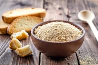 """<p>You can also <a href=""""https://www.thedailymeal.com/cook/recipes-finish-bread-loaf?referrer=yahoo&category=beauty_food&include_utm=1&utm_medium=referral&utm_source=yahoo&utm_campaign=feed"""" rel=""""nofollow noopener"""" target=""""_blank"""" data-ylk=""""slk:repurpose stale bread"""" class=""""link rapid-noclick-resp"""">repurpose stale bread</a> into breadcrumbs. Cut your bread into 1-inch pieces, pulse it in a food processor for about 15 or 20 seconds and bake in a 300-degree oven for 5-10 minutes. Combine these breadcrumbs with defrosted chicken to make chicken parmesan, one of<a href=""""https://www.thedailymeal.com/dishes-made-from-freezer-gallery?referrer=yahoo&category=beauty_food&include_utm=1&utm_medium=referral&utm_source=yahoo&utm_campaign=feed"""" rel=""""nofollow noopener"""" target=""""_blank"""" data-ylk=""""slk:the best meals you can make from the freezer"""" class=""""link rapid-noclick-resp""""> the best meals you can make from the freezer</a>.</p>"""