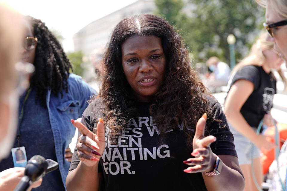 U.S. Representative Cori Bush (D-MO) speaks to reporters about the upcoming expiration of the pandemic-related federal moratorium on residential evictions from the steps of the U.S. Capitol in Washington, U.S., July 31, 2021. (REUTERS/Elizabeth Frantz)