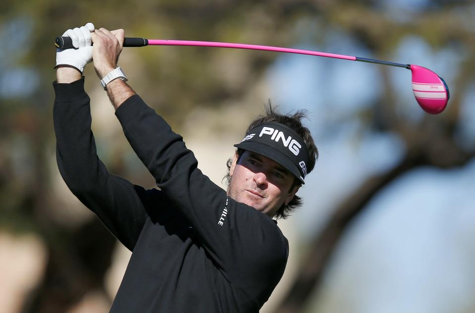 Bubba Watson hits his tee shot at the second hole during the final round of the Phoenix Open golf tournament on Sunday, Feb. 2, 2014, in Scottsdale, Ariz. (AP Photo/Ross D. Franklin)