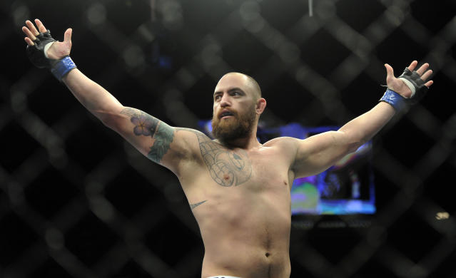 Travis Browne, of Albuquerque, N.M. ,reacts after defeating Josh Barnett, of Fullerton, Calif., during a UFC 168 mixed martial arts heavyweight bout on Saturday, Dec. 28, 2013, in Las Vegas. Browne won by a knockout in the first round. (AP Photo/David Becker)