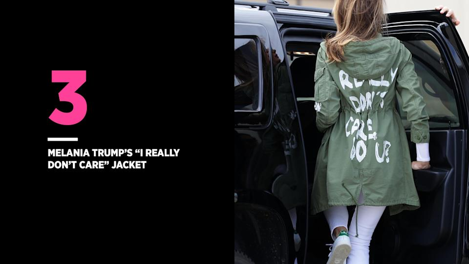 Melania Trump's jacket was viewed as a cold message to convey while on her way to visit migrant children who were being held at the Texas-Mexico border. (Photo: Getty Images)