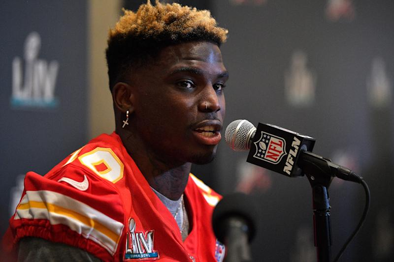 Chiefs management praised Tyreek Hill for his response this season after being the focus of a child abuse investigation. (Photo by Mark Brown/Getty Images)