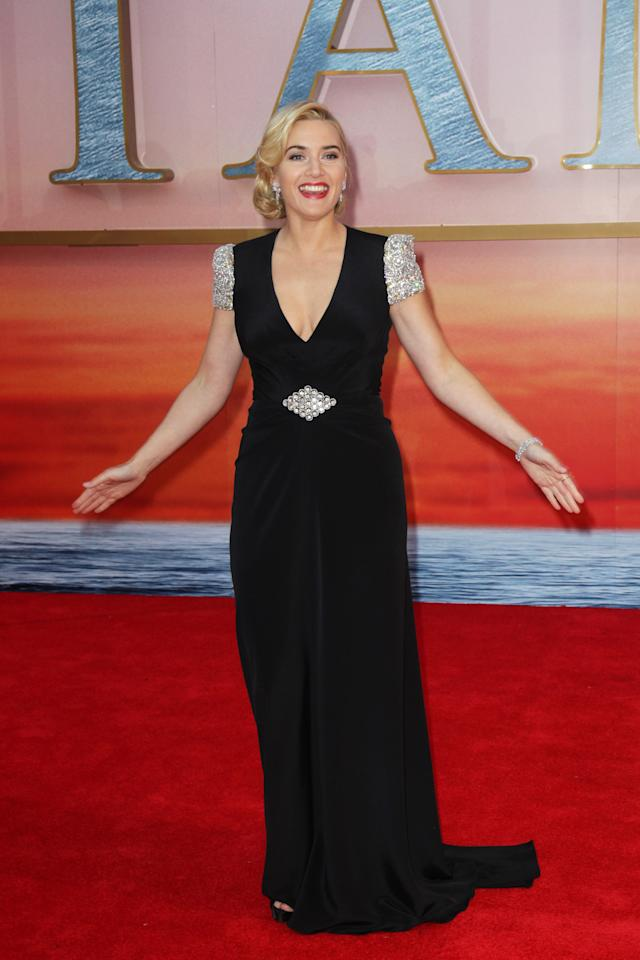 LONDON, ENGLAND - MARCH 27:  (UK TABLOID NEWSPAPERS OUT) Kate Winslet attends the world premiere of Titanic 3D at The Royal Albert Hall on March 27, 2012 in London, England.  (Photo by Dave Hogan/Getty Images)