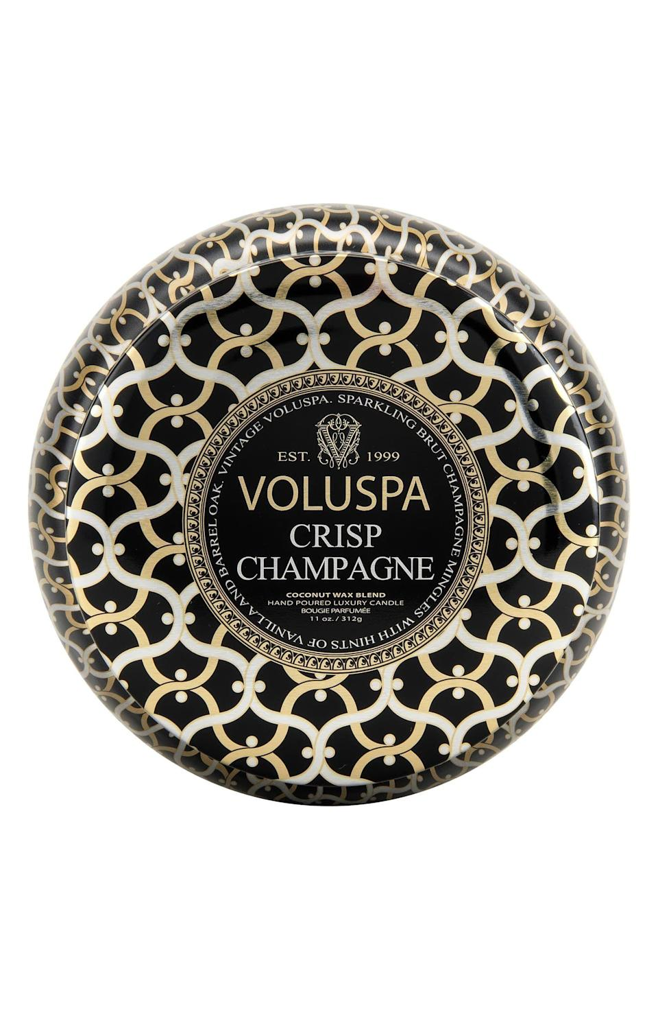 """<p><strong>VOLUSPA</strong></p><p>nordstrom.com</p><p><strong>$18.00</strong></p><p><a href=""""https://go.redirectingat.com?id=74968X1596630&url=https%3A%2F%2Fwww.nordstrom.com%2Fs%2Fvoluspa-maison-noir-crisp-champagne-maison-metallo-two-wick-candle%2F3242764&sref=https%3A%2F%2Fwww.harpersbazaar.com%2Fbeauty%2Fg33481900%2Fnordstrom-anniversary-sale-2020-best-beauty-makeup-deals%2F"""" rel=""""nofollow noopener"""" target=""""_blank"""" data-ylk=""""slk:SHOP NOW"""" class=""""link rapid-noclick-resp"""">SHOP NOW</a></p><p><strong>Sale: $12</strong></p><p>Value: $18</p><p>Caviar taste on a shoestring budget? Volupsa's crisp champagne candle is one of our top picks for fancy-looking inexpensive candles, with a scent that that transports us to a sunny day in the south of France with gentle hints of vanilla and barrel oak. A very wise item to have on hand as a failsafe gift. </p>"""