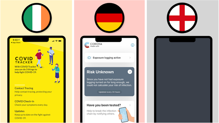 Ireland and Germany have launched apps based on Google and Apple's technology, but England remains wary