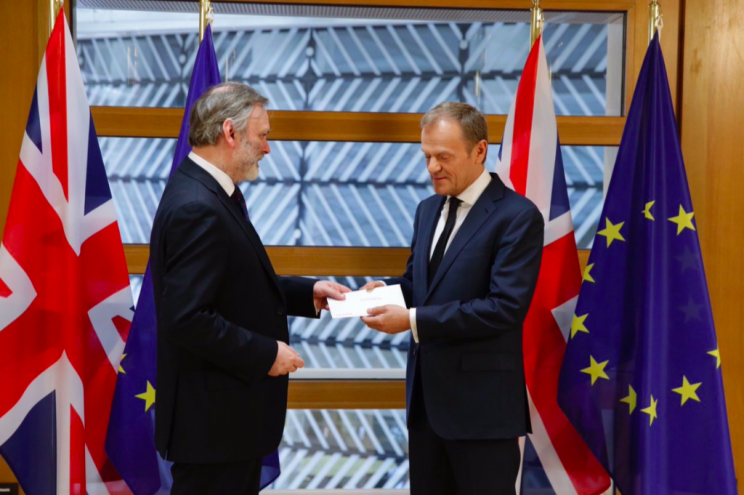 Sir Tim Barrow hands the letter triggering Article 50 to Donald Tusk