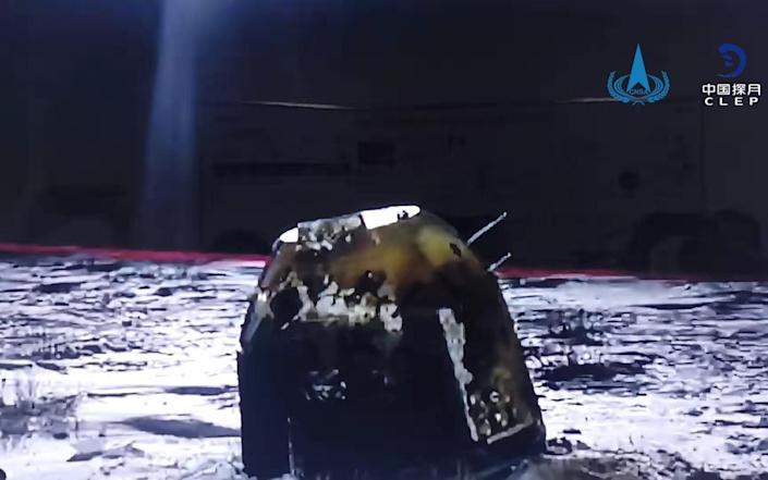 The capsule of China's Chang'e-5 probe after it landed in Siziwang Banner, Inner Mongolia Autonomous Region - EPA