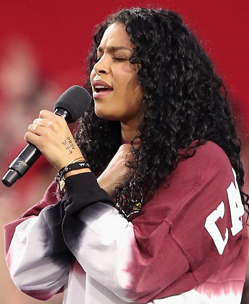 Singer Jordin Sparks performs the National Anthem before the start of the the NFL game between the Arizona Cardinals and the Dallas Cowboys at the University of Phoenix Stadium on September 25, 2017 in Glendale, Arizona. (Photo by Christian Petersen/Getty Images)