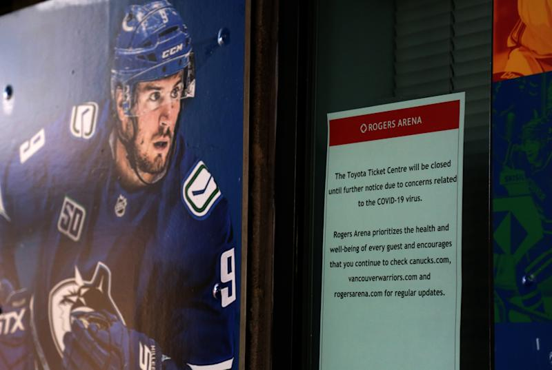 VANCOUVER, BC - MARCH 16 : Rogers Arena ticket office are seen after NHL postpones games due to concerns related to the coronavirus (COVID-19) in Vancouver, Canada on March 16, 2020. (Photo by Mert Alper Dervis/Anadolu Agency via Getty Images)