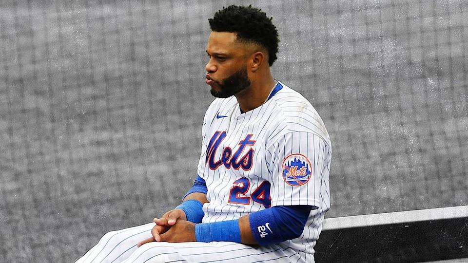 Robinson Cano sitting outside dugout looking upset TREATED ART