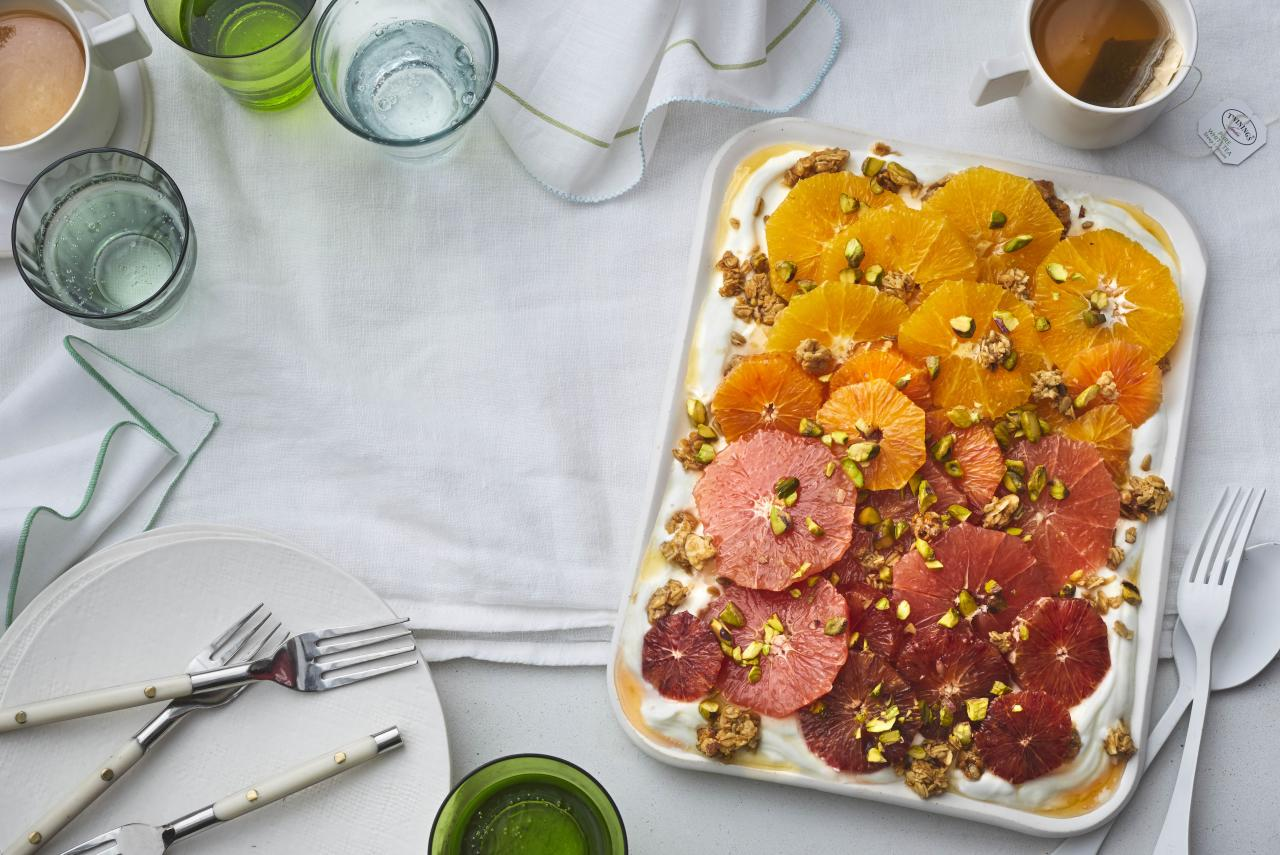 "<p><strong>Try this recipe:</strong> <a href=""https://www.health.com/recipes/winter-citrus-salad-yogurt-granola"">Winter Citrus Salad With Yogurt & Granola</a></p> <p>Brunch is great, but it can be heavy. Try this amazingly fresh citrus salad if you're in the mood for something lighter.</p> <p><strong>Ingredients:</strong> blood orange, navel orange, grapefruit, Greek yogurt, honey, granola, pistachios</p> <p><strong>Calories:</strong> 381</p>"