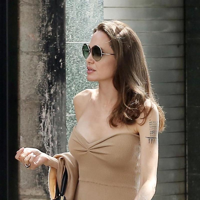 Angelina Jolie Makes Going Strapless Look Easy and Elegant
