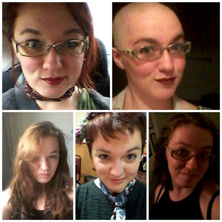 5 photos of a woman's hair changes: one bald, one long hair, one red short hair,