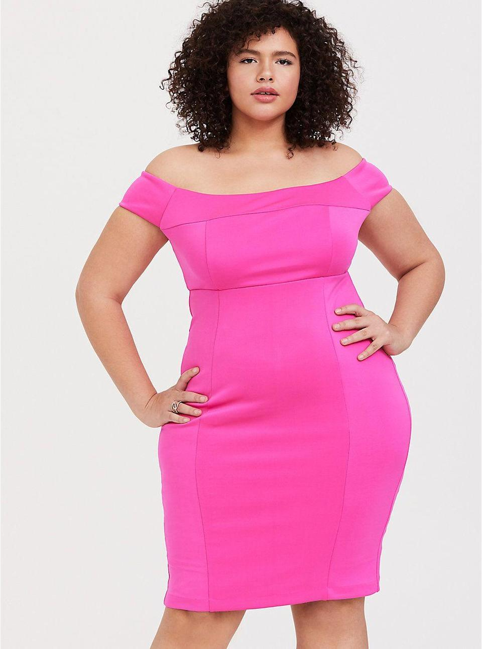 "<p><strong>Torrid</strong></p><p>torrid.com</p><p><strong>$27.99</strong></p><p><a href=""https://go.redirectingat.com?id=74968X1596630&url=https%3A%2F%2Fwww.torrid.com%2Fproduct%2Fhot-pink-scuba-knit-off-shoulder-bodycon-dress%2F12301060.html%3Fcgid%3DClothing_Dresses%23sz%3D60%26start%3D81&sref=https%3A%2F%2Fwww.goodhousekeeping.com%2Fholidays%2Fg29954145%2Fplus-size-new-years-dresses%2F"" rel=""nofollow noopener"" target=""_blank"" data-ylk=""slk:Shop Now"" class=""link rapid-noclick-resp"">Shop Now</a></p><p>Go bold on New Year's Eve by skipping the traditional glittery look and opting for hot pink. The stretchy fabric allows for comfort while highlighting your figure. </p>"