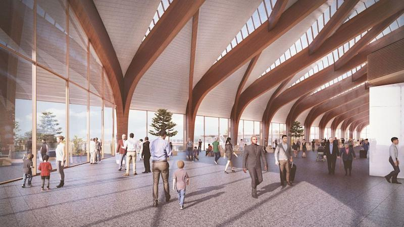 Modern: An artist's impression of the planned Interchange station which will serve Solihull, the West Midlands, Birmingham Airport and the NEC (PA)