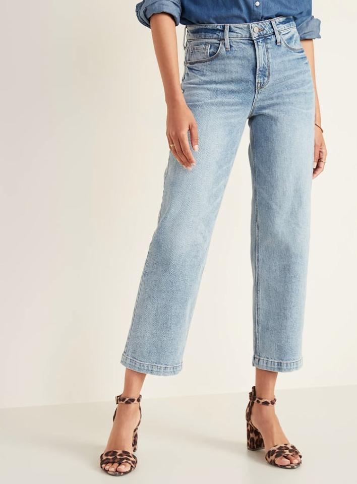 """<p><a href=""""https://www.popsugar.com/buy/Old-Navy-High-Waisted-Light-Stone-Washed-Slim-Wide-Leg-Jeans-552212?p_name=Old%20Navy%20High-Waisted%20Light%20Stone-Washed%20Slim%20Wide-Leg%20Jeans&retailer=oldnavy.gap.com&pid=552212&price=20&evar1=fab%3Aus&evar9=47260507&evar98=https%3A%2F%2Fwww.popsugar.com%2Fphoto-gallery%2F47260507%2Fimage%2F47260640%2FMy-Exact-Pair-Jeans&list1=shopping%2Cold%20navy%2Cdenim%2Ceditors%20pick%2Cpants%2Cspring%20fashion&prop13=api&pdata=1"""" rel=""""nofollow"""" data-shoppable-link=""""1"""" target=""""_blank"""" class=""""ga-track"""" data-ga-category=""""Related"""" data-ga-label=""""https://oldnavy.gap.com/browse/product.do?pid=481074002&amp;pcid=999&amp;vid=1&amp;irgwc=1&amp;clickid=Q4sW82QOYxyJRo2wUx0Mo34QUknV8DUAwznTRU0&amp;ap=6&amp;tid=onaff8724885&amp;siteID=onafcid383278#pdp-page-content"""" data-ga-action=""""In-Line Links"""">Old Navy High-Waisted Light Stone-Washed Slim Wide-Leg Jeans</a> ($20, originally $40)</p>"""