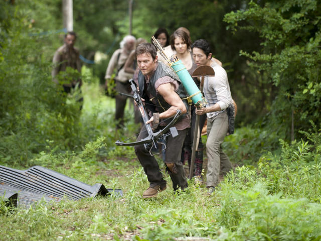 "Daryl Dixon (Norman Reedus), Glenn (Steven Yeun) and Maggie Greene (Lauren Cohan) in ""Seed,"" the Season Three premiere episode of ""The Walking Dead"" on AMC."