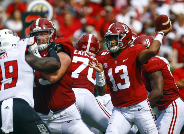 Alabama quarterback Tua Tagovailoa (13) throws a pass during the first half Saturday against Arkansas State. (AP)