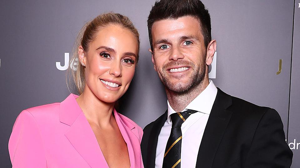 Brooke and Trent Cotchin will remain in the AFL hub until the end of the season. (Photo by Kelly Defina/AFL Photos/via Getty Images)