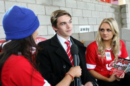 Accrington Stanley's Tom Bender is interviewed before the game