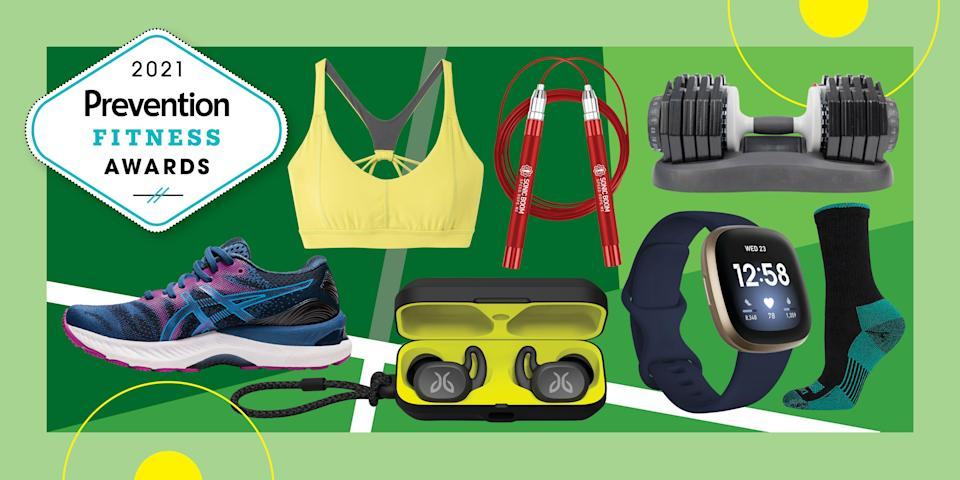 """<p>To set you up for a fit year, we asked podiatrists and personal trainers for their favorite gear and best advice, then got everyday folks to try the top choices during yoga sessions, HIIT workouts, neighborhood runs, trail hikes, and more. The result: these 24 fitness products that'll motivate and challenge you to meet your workout goals this year.</p><h4 class=""""body-h4"""">Meet <em>Prevention</em>'s expert panel:</h4><ul><li><strong><a href=""""https://www.jilldejong.com/"""" rel=""""nofollow noopener"""" target=""""_blank"""" data-ylk=""""slk:Jill de Jong"""" class=""""link rapid-noclick-resp"""">Jill de Jong</a></strong>, a celebrity trainer, health coach, and podcast host</li><li><strong><a href=""""https://www.instagram.com/tatiana.kf/?hl=en"""" rel=""""nofollow noopener"""" target=""""_blank"""" data-ylk=""""slk:Tatiana Firpo"""" class=""""link rapid-noclick-resp"""">Tatiana Firpo</a></strong>, a certified personal trainer and instructor at Fithouse, Soho House and Everybody Fights</li><li><strong><a href=""""https://www.adelejacksongibson.com/"""" rel=""""nofollow noopener"""" target=""""_blank"""" data-ylk=""""slk:Adele Jackson-Gibson"""" class=""""link rapid-noclick-resp"""">Adele Jackson-Gibson</a></strong>, a certified fitness coach, model, and writer</li><li><strong><a href=""""https://www.amandamargusity.com/"""" rel=""""nofollow noopener"""" target=""""_blank"""" data-ylk=""""slk:Amanda Margusity"""" class=""""link rapid-noclick-resp"""">Amanda Margusity</a></strong>, a certified fitness coach and former competitive cheerleader</li><li><strong><a href=""""https://www.definehealthy.net/"""" rel=""""nofollow noopener"""" target=""""_blank"""" data-ylk=""""slk:Kymberly Nolden"""" class=""""link rapid-noclick-resp"""">Kymberly Nolden</a></strong>, an exercise specialist and body diversity activist</li><li><a href=""""https://www.gothamfootcare.com/provider/miguel-cunha-dpm"""" rel=""""nofollow noopener"""" target=""""_blank"""" data-ylk=""""slk:Miguel Cunha, D.P.M."""" class=""""link rapid-noclick-resp""""><strong>Miguel Cunha, D.P.M.</strong></a>, founder of Gotham Footcare in NYC</li><li><strong><a href=""""https://www.footcareofmanh"""