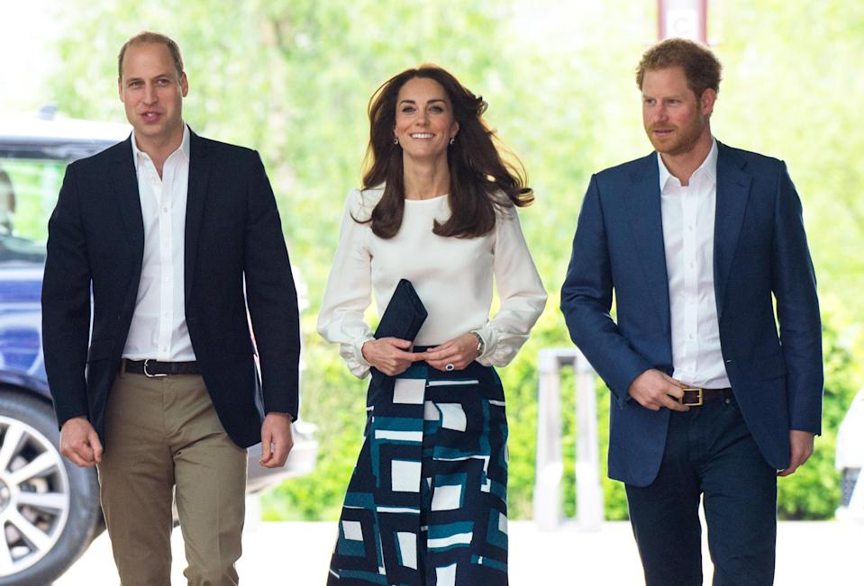 William, Kate and Harry at the Heads Together launch in 2016 (PA)