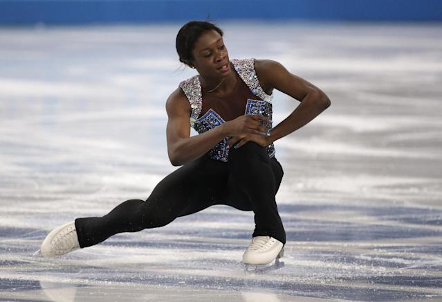 Mae Berenice Meite of France competes in the women's free skate figure skating finals at the Iceberg Skating Palace during the 2014 Winter Olympics, Thursday, Feb. 20, 2014, in Sochi, Russia