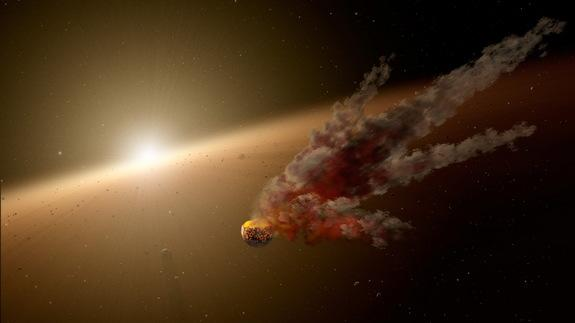 Artist's concept showing the immediate aftermath of a large impact around the young sunlike star NGC 2547-ID8, which is thought to be forming rocky planets.