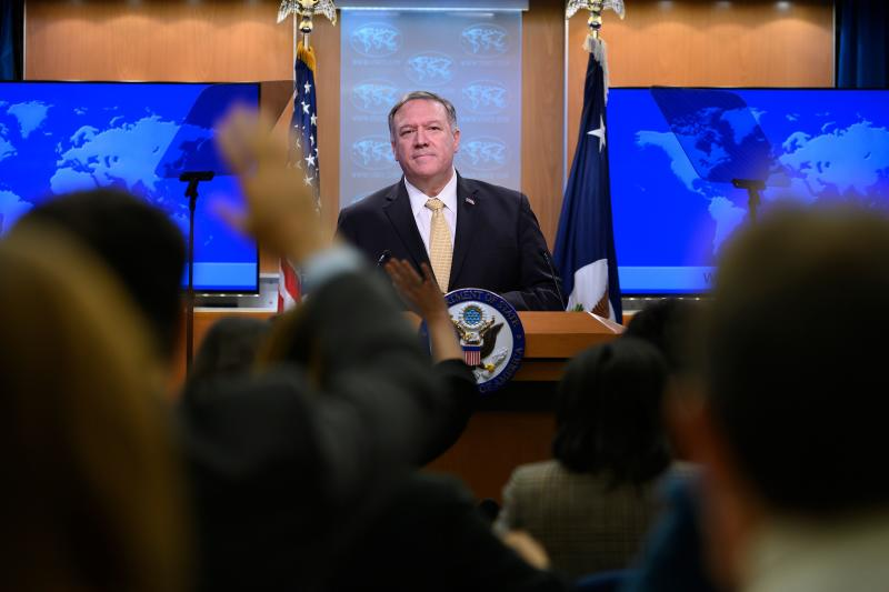 US Secretary of State Mike Pompeo takes questions during a press conference at the US Department of State in Washington, DC, on November 18, 2019. (Photo: Jim Watson/AFP via Getty Images)