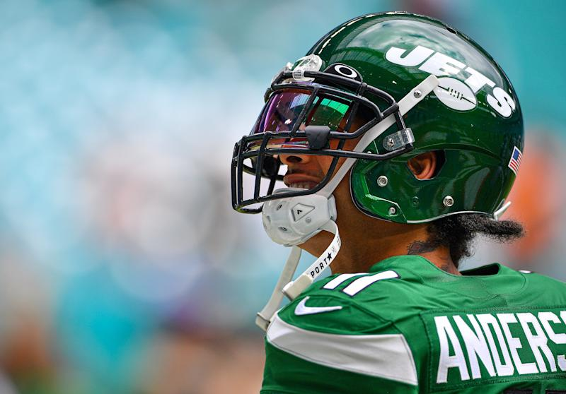 MIAMI, FLORIDA - NOVEMBER 03: Robby Anderson #11 of the New York Jets looks on during warms up prior to the game against the Miami Dolphins at Hard Rock Stadium on November 03, 2019 in Miami, Florida. (Photo by Mark Brown/Getty Images)